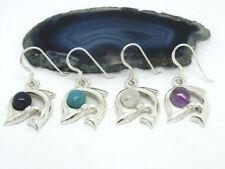 Delphin Delfin 925 Silber Ohrringe Ohrhänger mit Steinen verschiedene Farben