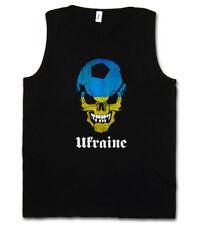 BLACK CLASSIC UKRAINE FOOTBALL SOCCER SKULL FLAG TANK TOP Fan Hooligan Ukrain
