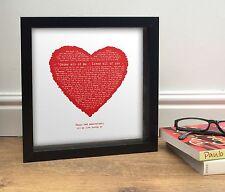 John Legend Anniversary Gift - ALL OF ME - Romantic heart PERSONALISED PRINT