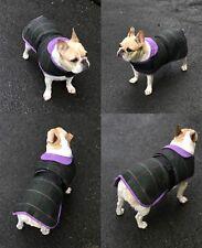 """Bulldog Francés Perro Abrigo Pug Gor Mascotas Tweed LILA/VERDE 14"""" 16"""" 18"""" Invierno Cálido"""
