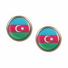 Mylery Ohrstecker Paar mit Motiv Aserbaidschan Azerbaijan Baku Flagge bronze ver