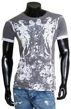 Shine señores cuello redondo t-shirt club contraste Angels foto Print gris blanco 2-45378