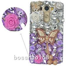 Jewelled Rhinestone Bling Crystal purple Diamond pendant Soft TPU Gel Phone Case