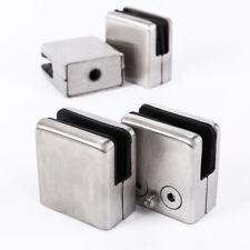 4x 304 Stainless Steel Clamp Holder Bracket Clip Glass Shelf Handrails Flat Base