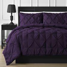 Twin Full Queen Cal King Plum Purple Pintuck Pleat 3 pc Comforter Set Bedding