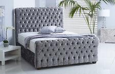 New Sleigh Chesterfield Upholstered Bed Frame Chenille Linen or Velvet Bedstead