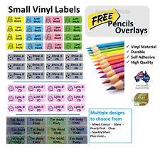 Mini Vinyl Personalised name Label tag school Stationery Pencil boy girl texta