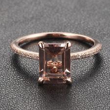 CLAW PRONGS 14K Rose Gold Emerald Cut Morganite .16ct Diamond Engagement Ring