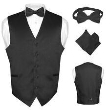 Men's Dress Vest BOWTie Hanky Solid BLACK Color Bow Tie Set for Suit or Tuxedo