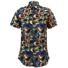 Camisa Hombre Loud ORIGINALS Ajustado Camuflaje Azul Retro Psicodélico Elegante
