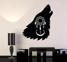 Vinyl Wall Decal Howling Wolf Head Dreamcatcher Moon Predator Stickers (1388ig)