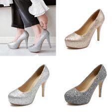 Women's Party Club Sequins Platform High Heels Slim Pumps Round Toe Casual Shoes