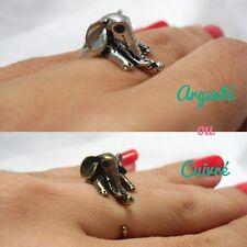 Bague elephant pattes enroulé originale rétro pinup argenté ou cuivré