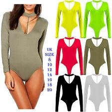 New Women Long Sleeve Bodysuit Choker Split Strap Neck Slim Fit Leotard Top 8-22