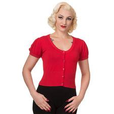 Dancing Days Rockabilly Pin Up Hepcat Vintage Cardigan - Short Plain Rot kurz