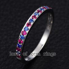 Ruby Sapphire Wedding Band 14K White Gold,1.5mm,Half Eternity Anniversary Ring