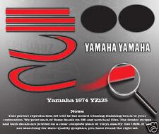 YAMAHA 1974 YZ125 TANK COVER DECAL GRAPHIC KIT