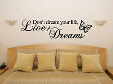 LIVE YOUR DREAMS camera da letto soggiorno sala da pranzo DECALCOMANIA