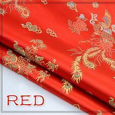 Chinese Satin Silk Dragon Phoenix Fabric Cloths Cheongsam Dress Upholstery Craft