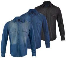Hommes Classique Chemise en jean à manches longues travail lourd Premium Denim S-3XL