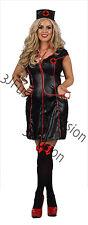 Para Mujeres Adulto Disfraz Uniforme de Enfermera Negro Traje Medias LIBRE & Libre Post (CM)