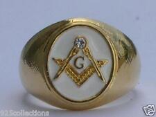Masonic Mason White Enamel Compasses Clear Austrian Crystal Men Ring Size 7-15