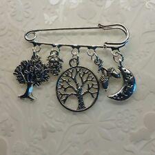 Pagan tree of life brooch moon~Moon and Stars keyring~moon stars brooch~hare pin