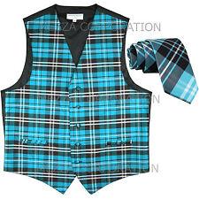 "New Vesuvio Napoli Men's plaid Tuxedo Vest_2.5"" Skinny Slim Necktie Turquoise"