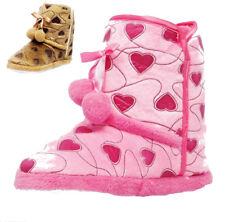 Boys Girls Infants New Pink Brown Unisex Boots Comfort Winter Slippers UK 10 - 2