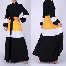 NEW Women Long Sleeve Evening Maxi Dress Color Block Muslim Abaya Kaftan Islamic