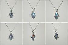 6 pcs Sterling Silver 925 Gemstone HAMSA Fatima Hand Charms with BOX Chains Lot