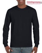 Negro Adulto Gildan Algodón Mangas Largas Ultra-Camiseta para hombre Camisas S M L XL 2xl
