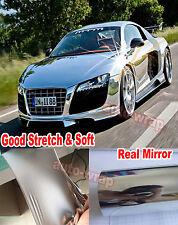 Super Stretch - Hot Car Flat Glossy Mirror Chrome Vinyl Wrap Film Sticker Silver