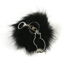 Soft Furry Pom Pom Fluffy Keyring Key chain Horse Cat or Owl Charm Key Ring Bag