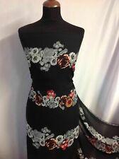 "NEW Beautiful Designer Chiffon Floral Print Fabric 61"" 157cm dress Paris Hillton"