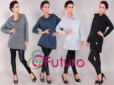 Women's Poncho Long Sleeve Cowl Neck Tunic Jumper Sweatshirt Size 8-12 FT989