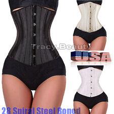 Black 28 steel bones boned Waist Training Underbust lace up corset Top Shaper TB