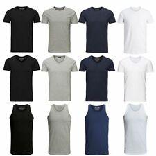 Jack Jones Herren T-Shirt Marken Basic V-Neck O-Neck Tee Tank Top WOW