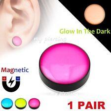 Glow in the Dark Fake Magnetic Plugs Pair Logo Epoxy Dome Top Black Acrylic