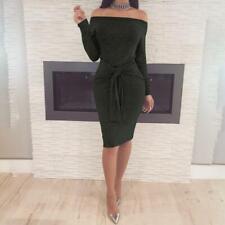 Women Long Sleeve Off Shoulder Bandage Bodycon Midi Dress LA