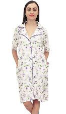 Bimba Women Purple Floral Print Short Sleeve Sleepshirt Nightwear With Pockets