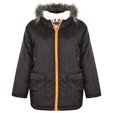 Kids Boys Girls Hooded Padded Faux Fur School Jackets Warm Thick Coat 2-13 Years