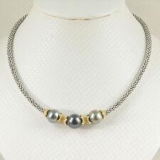 Wonderful Combination Silver 925 Bali Bead & 3 Black Tahitian Pearl Necklace TPJ