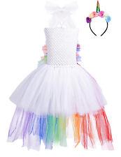Mädchen Festlich Tutu Kleid Einhorn Partykleid Cosplay Fasching Karneval Kostüm