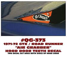 QG-373 1971-72 PLYMOUTH ROAD RUNNER - AIR GRABBER TEETH - HOOD DOOR DECAL SET