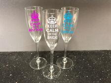 Keep Calm Wedding Flute Glass Prosecco Champagne Wine Bride Groom Bridesmaid Etc