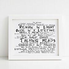 Talking Heads Poster, Remain in the Light, Framed Original Art, Album Print Gift