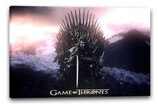 Lein-Wand-Bild: Game of Thrones Ned Stark eiserner Thron mit Schwert düster