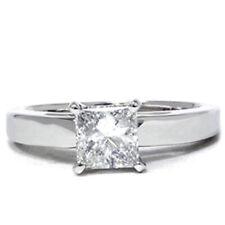 G/SI 1 ct Princess Cut Diamond Solitaire Engagement Ring 14k White Gold Enhanced