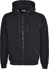 Mens Plain Warm Brushed Zip-up Fleece Hoody Hooded Sweatshirt Jacket  S-XXL